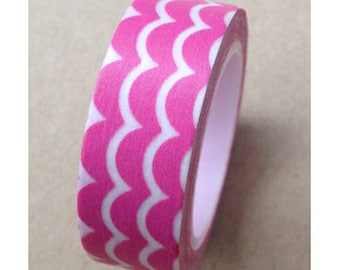 CLEARANCE Washi Tape Pink Wave 15mm x 10 meters
