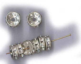 vintage RHINESTONE RONDELLES, silvertone, EIGHT large antique rhinestone rondelles bridal finding 10mm