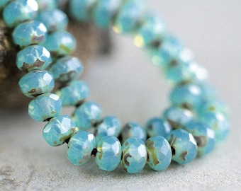 Opal Blue Picasso Rondelle Beads, Czech Glass beads, Fire Polished beads, faceted glass donut beads, 3X5mm (50pcs) NEW