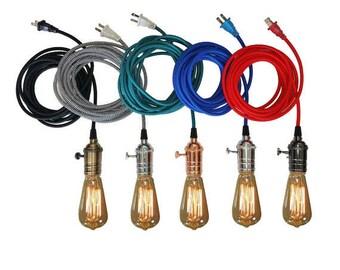 Plug In Pendant Light 15ft - 5 Color choices Includes Edison Bulb Modern Hanging Light- Industrial Light plugin Lighting Antique Lights