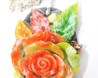 Handmade  rose pendant necklace,material rezin,powder,size 60mmx40mm,good gift,good party.