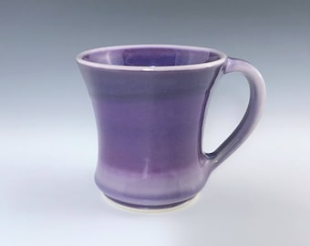 Ceramic Coffee Mug, Purple Ceramic Mug, Wide Coffee Cup, Large Mug, Purple Ombré Mug, Porcelain Mug, Tea Mug, Wheel Thrown Pottery Mug