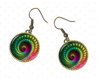 Colorful earrings spiral, Rainbow, evening, party