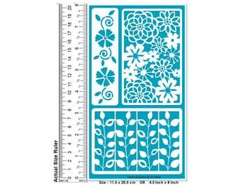 Stencil, Adhesive Stencil, Cake Stencil, Stencil Pattern, Flower Stencil, Glass Etching Stencil, Etching Stencil, Painting Stencil, Reusable