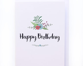Tropical flower illustrated Birthday greeting card