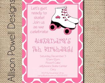 Custom Digital Birthday Party Invitation - Roller Skate