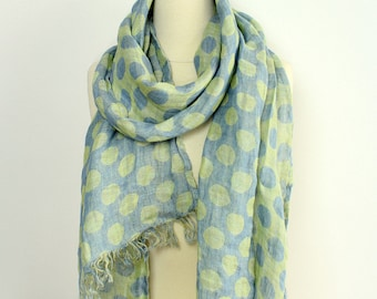 Linen Polka Dot Scarf | Men's Organic Flax Scarves | Blue & Yellow 100% Linen Scarf Shawl | Summer Scarf for Women | Husband Gift Wife Gift