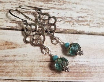 Turquoise earrings Elegant earrings Aqua blue earrings Dangle Silver earrings Celtic Earrings Drop Knot earrings Christmas gift for wife