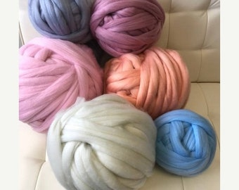 Chunky Knit Yarn, Chunky Vegan Yarn, Super Bulky Yarn,Arm Knitting Yarn