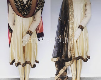 Silk Anarkali paired with Banarsi Silk and net duppata.