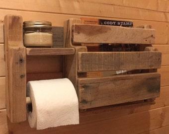 Rustic bathroom TP and magazine rack