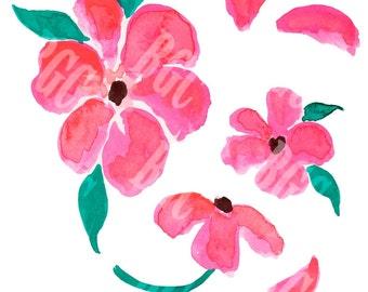 Pink Petals Watercolor Print