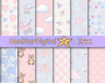 Girl baby scrapbook, girl baby paper, girl paper digital, baby pink paper, pink baby scrapbook, girl paper scrapbook, baby pink printable.