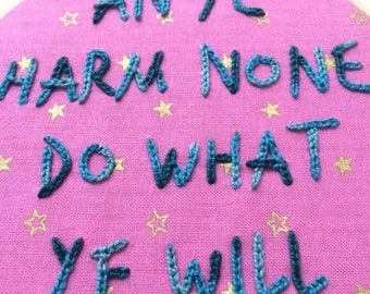 Framed Wiccan Rede Handmade Embroidery, An Ye Harm None Do What Ye Will, On Pink And Gold Star Fabric, Finished Piece