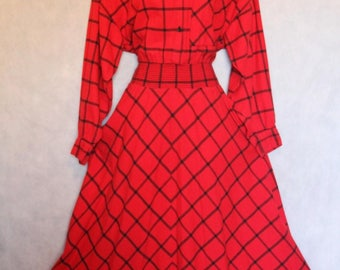 Carol Anderson California Red Shirtwaist Dress Size S/M Cotton True Vintage USA