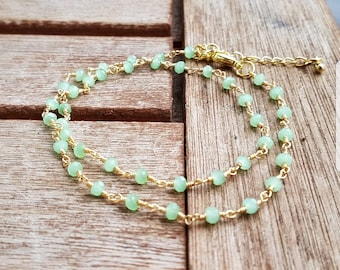 Gold double bracelet with Green Chalcedony