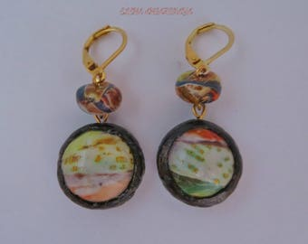 Picasso Beads Polymer Clay Earrings, Dangle Earrings