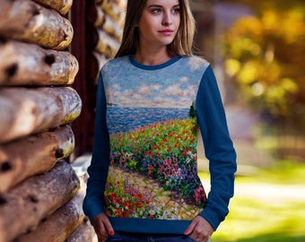 Diane Monet - Path To The Beach - All Over Print Sweatshirt - Royal Blue