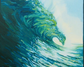 """GICLEE reproduction on 8 1/2 x 11"""" fine art PAPER - Blue Door (wave, barrel, tube)"""