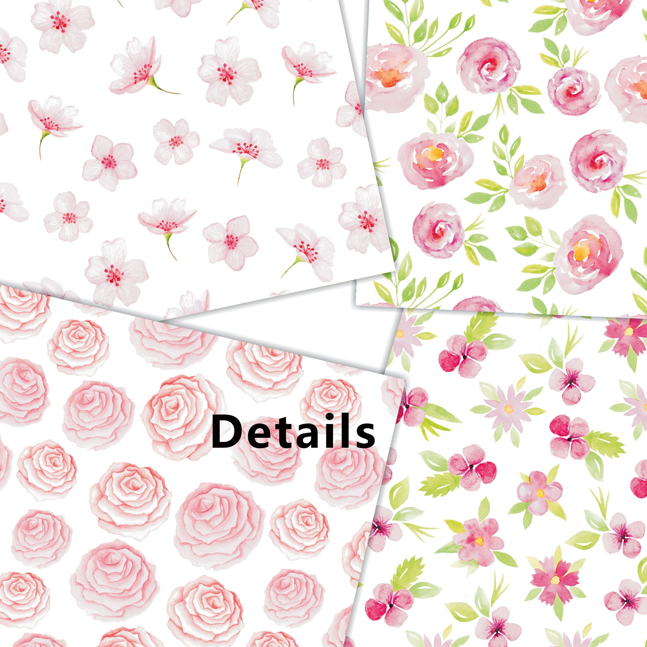 Watercolor Flower Digital Paper Watercolor Digital Paper