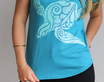 Divine Sea Turtle V Neck women's shirt - loose fit sizing - Spiral golden ratio shirt. Majestic honu top. Flowing design - Ghost/mint print.