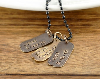 Personalized Dog Tag Necklace, Hand Stamped Dog Tag Necklace, Dog Tag Jewelry, Gift for Dad, Mens Necklace, Gifts for Husband, Boyfriend