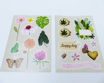 2 boards of sticker sheet flower tropical tropical Butterfly insect happy day