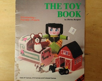 Vintage Needlework on Plastic Canvas The Toy Book by Shirley Burgess, Vintage Plastic Canvas Patterns, Vintage Toy Patterns