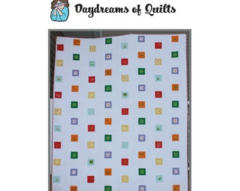 Jumping Framed Squares PDF Quilt Pattern beginner quilter friendly queen sized rainbow fussy cut