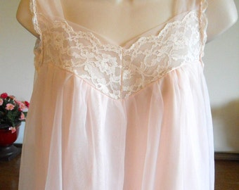 Vintage 1960's Lisette Nightgown Gown ~ Petal Pink Double Nylon Chiffon ~ Feminine Nightgown ~ Romantic ~ Pretty Girl~ Sissy Gown ~