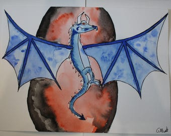 Original watercolor blue dragon