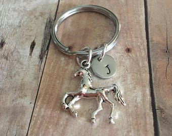 Horse charm Keychain,Horse charm,Gift for her,Gift for Him,Gift,Horse Keychain,Personalized Keychain,Initial Keychain,Hand stamped,Monogram
