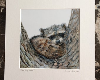 Raccoon Giclee Print, raccoon painting, raccoon art, cute animal art, forest animal art, cute woodland critters, nature decor, baby raccoon