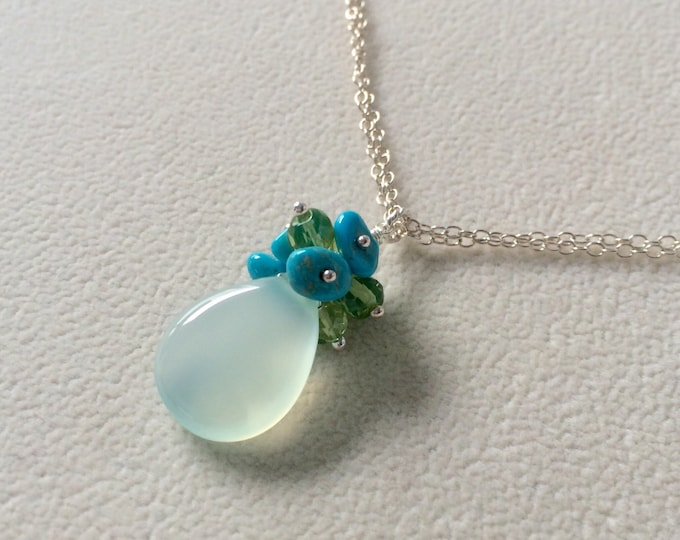 Seafoam Green Chalcedony Gemstone Pendant in Sterling Silver with Sleeping Beauty Turquoise and Peridot