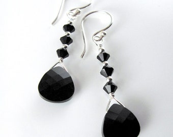 Luscious Jet Black Earrings - Swarovski Crystal Jet Briolettes, Bicones and Sterling Silver
