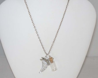 Pet Loss Memory Necklace with Crystal Wing, Glass Bottle and Greyhound Dog Charm