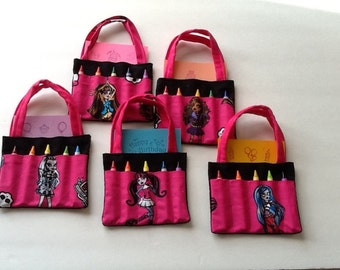 Monster High Children's Crayon Bag and Customized Paper, Birthday Party Favor