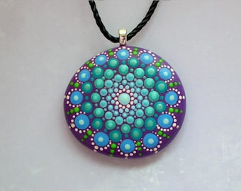 Mandala pendant necklace Mothers Day gift under 50 statement jewelry beach stone fashion SHIPS FREE-Ultra violet purple teal painted rocks