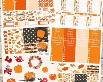 PUMPKIN HARVEST//Fall Planner Stickers Kit or Individual Sheets sized for the Erin Condren Life Planner