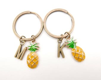 Best Friends, Pineapple keyring, Pineapple keychain, initial monogram keychain, Pineapple Accessories, Gifts Under 10