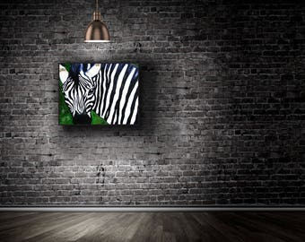 "Zebra Original Oil Painting on Canvas, Contemporary Art, Large Painting, black and white art 30""x24"" by Marla"