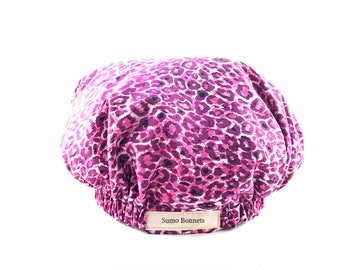 Purple Leopard Print Luxury Satin Lined Sleep Bonnet