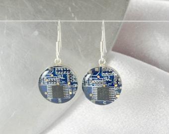 Circuit Board Earrings, Blue Sterling Silver Jewelry, Blue Dangle Earrings, Software Engineer, Women in Computing, Wearable Technology