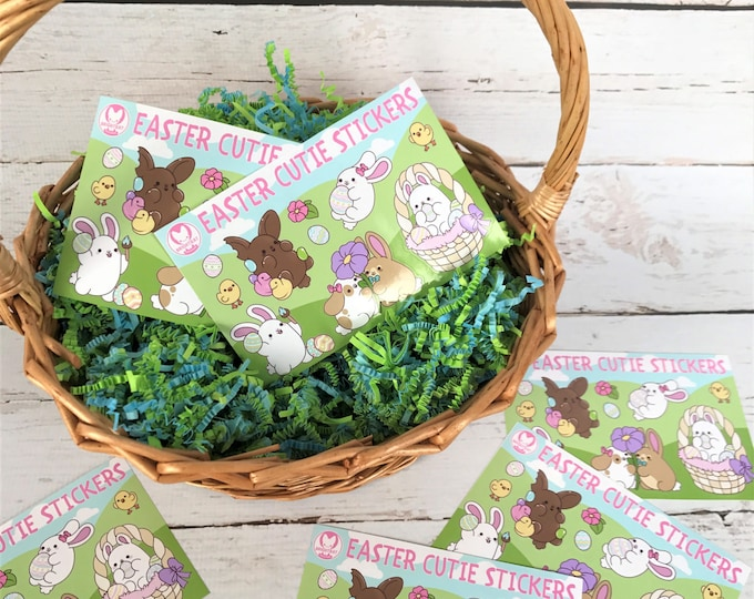 Featured listing image: Kawaii Easter Bunny Nuggets Sticker Sheets