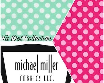 Michael Miller Ta Dot /Pink & Mint/Cotton/Fabric/Sewing/Quilting