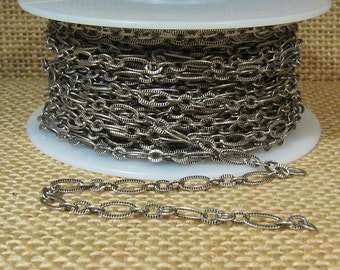 Small Etched Oval Chain - Antique Silver - CH127