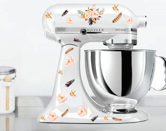 Watercolor Posies and Feathers Kitchen Mixer Decals, Watercolor flowers, flower mixer decals, Floral Mixer Decals