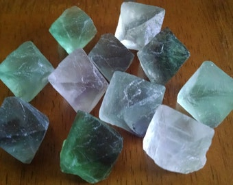 Fluorite Octahedron 1 inch plus Crystals - at 4.88 a Piece - Green - Purple - Clear