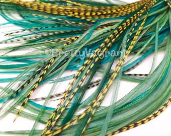 Yellow Green Feather Hair Extensions Long Skinny Hair Feathers Solid Grizzly Striped And Variants Mixed DIY Kit 8pcs Hair Accessories