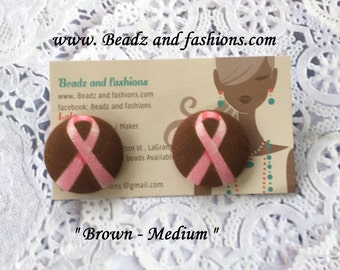 Brown & pink breast cancer ribbon fabric cover button earrings